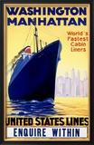United States, Manhatten Oceanline Framed Giclee Print