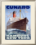 Cunard Line, Hamburg to New York Framed Giclee Print by Hans Bohrdt