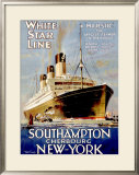 White Star Line, Southampton, Cherbourg, New York Framed Giclee Print by Walter Thomas