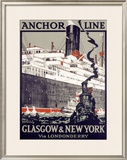 Anchor Line, Glasgow to New York Framed Giclee Print by Kenneth Shoesmith