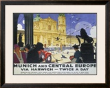 Munich and Central Europe, LNER poster, 1929 Framed Giclee Print by Ludwig Hohlwein