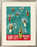 Surf City, Huntington Beach Framed Giclee Print