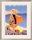La Plage de Calvi Framed Giclee Print by Roger Broders