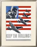 WWII, Keep 'Em Rolling P-39 Framed Giclee Print