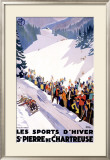 Chartreuse Resort Snow Tobaggan Framed Giclee Print by Roger Broders