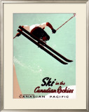 Canadian Pacific Snow Ski Rockies Framed Giclee Print