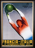 Francia-Italia Football, 1935 Framed Giclee Print by T. Corbella