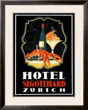Hotel St. Gotthard, Zurich Framed Giclee Print by Otto Baumberger