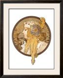 Round Portrait, 1897 Framed Giclee Print by Alphonse Mucha