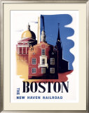 Boston, Massachusetts, New Haven Railroad Framed Giclee Print by Ben Nason