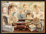 Children Looking Through Bakery Window Framed Giclee Print