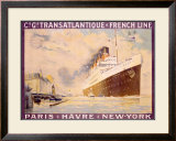 Transatlantique, French Line Framed Giclee Print by Albert Sebille