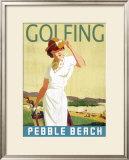 Golfing Pebble Beach Framed Giclee Print