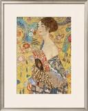 Dama con abanico Lámina por Gustav Klimt