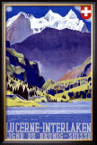 Swiss Alps Lucerne Travel Poster Framed Giclee Print