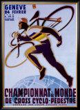 Championnat du Monde de Cross Cyclo-Pedestre Framed Giclee Print by Noel Fontanet