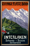 Interlaken Swiss Railway Poster, circa 1930s Framed Giclee Print