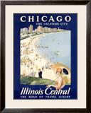 Chicago Illinois Central Train Framed Giclee Print