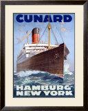 Cunard Line, Hamburg to New York Framed Giclee Print by Hans Bohrdt
