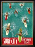 Surf City, Huntington Beach Framed Giclee Print