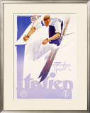 Winter Sports in Italy Framed Giclee Print by Lenhart 