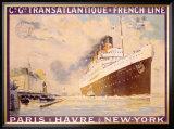 Transatlantique, French Line Framed Giclee Print by Albert Sebille