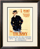 Vintage WWII Navy Recruit Poster Framed Giclee Print