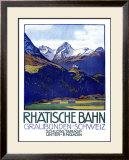 Rhatische Bahn, Schloss Tarasp Framed Giclee Print by Emil Cardinaux