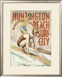 Huntington Beach, Surf City Framed Giclee Print