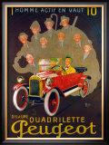 Quadreilette Peugeot Framed Giclee Print by  Mich (Michel Liebeaux)