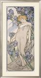 Mucha Nouveau Iris Flower Poster Framed Giclee Print by Alphonse Mucha