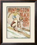 Huntington Beach, Surf City Framed Giclee Print