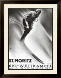St. Moritz, Ski Framed Giclee Print