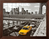 Yellow Cab on Brooklyn Bridge Poster by Henri Silberman