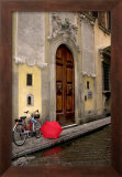 Red Umbrella and Bicycle at the Door, Florence Prints by Igor Maloratsky