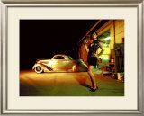 Pin-Up Girl: 1937 Coupe Tattoo and Leather Framed Giclee Print by David Perry