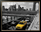 Yellow Cab on Brooklyn Bridge Posters by Henri Silberman