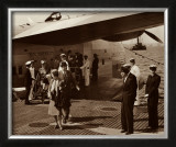 Boeing B-314, Passengers Arrive at La Gaurdia, 1939 Art by Clyde Sunderland
