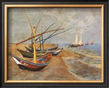 Fishing Boats on the Beach at Saints-Maries, c.1888 Posters by Vincent van Gogh