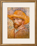 Self-Portrait with Straw Hat, c.1887 Posters by Vincent van Gogh