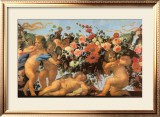 Angels with Garland of Flowers Poster by Carlo Maratti