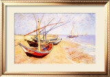 Fishing Boats on the Beach at Saints-Maries, c.1888 Framed Giclee Print by Vincent van Gogh
