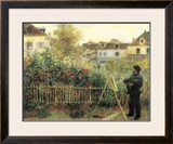 Monet Painting in His Garden at Argenteuil Art by Pierre-Auguste Renoir