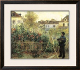 Monet Painting in His Garden at Argenteuil Print by Pierre-Auguste Renoir