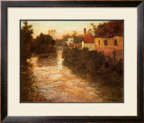 Village on the Bank of a Stream Print by Fritz Thaulow