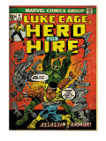 Marvel Comics Retro: Luke Cage, Hero for Hire Comic Book Cover 6, Assassin in Armor! (aged) Posters