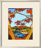 Red Leaves at Mama Framed Giclee Print by Hiroshige II