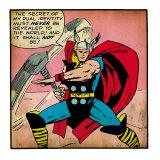 Marvel Comics Retro: Mighty Thor Comic Panel (aged) Kunstdruck