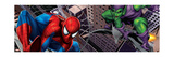 Spider-Man and Green Goblin Fighting and Flying in the City Prints