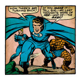 Marvel Comics Retro: Fantastic Four Comic Panel, Thing, Mr. Fantastic, Human Torch (aged) Print